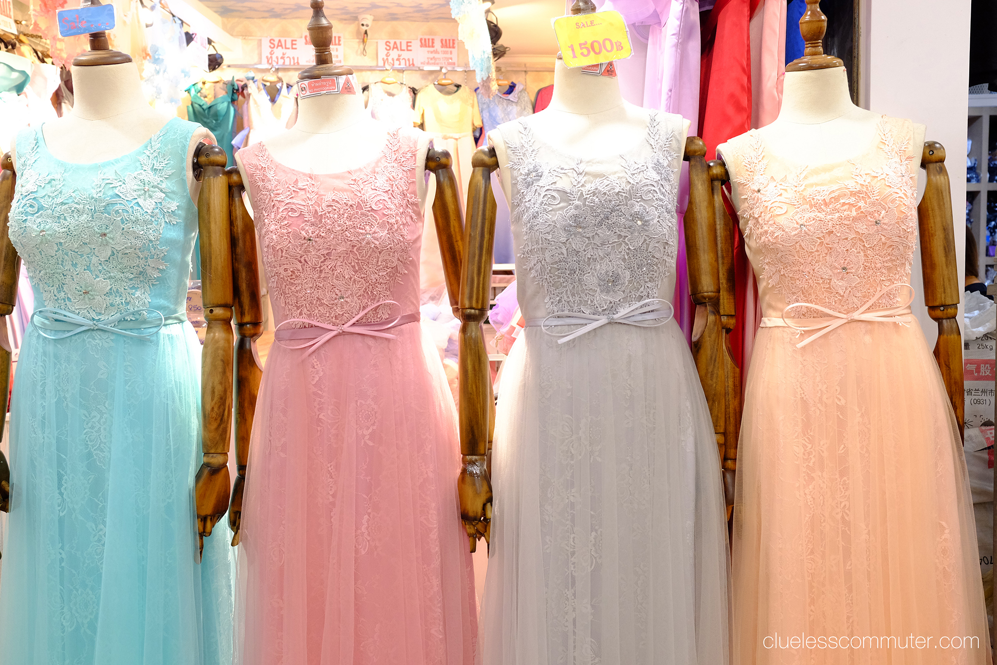 Pastel dresses in Bangkok.